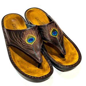 Naot Brown Leather Peacock Feather Sandals Size 7
